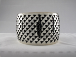 Sterling Silver and Black Hopi Bracelet Cuff