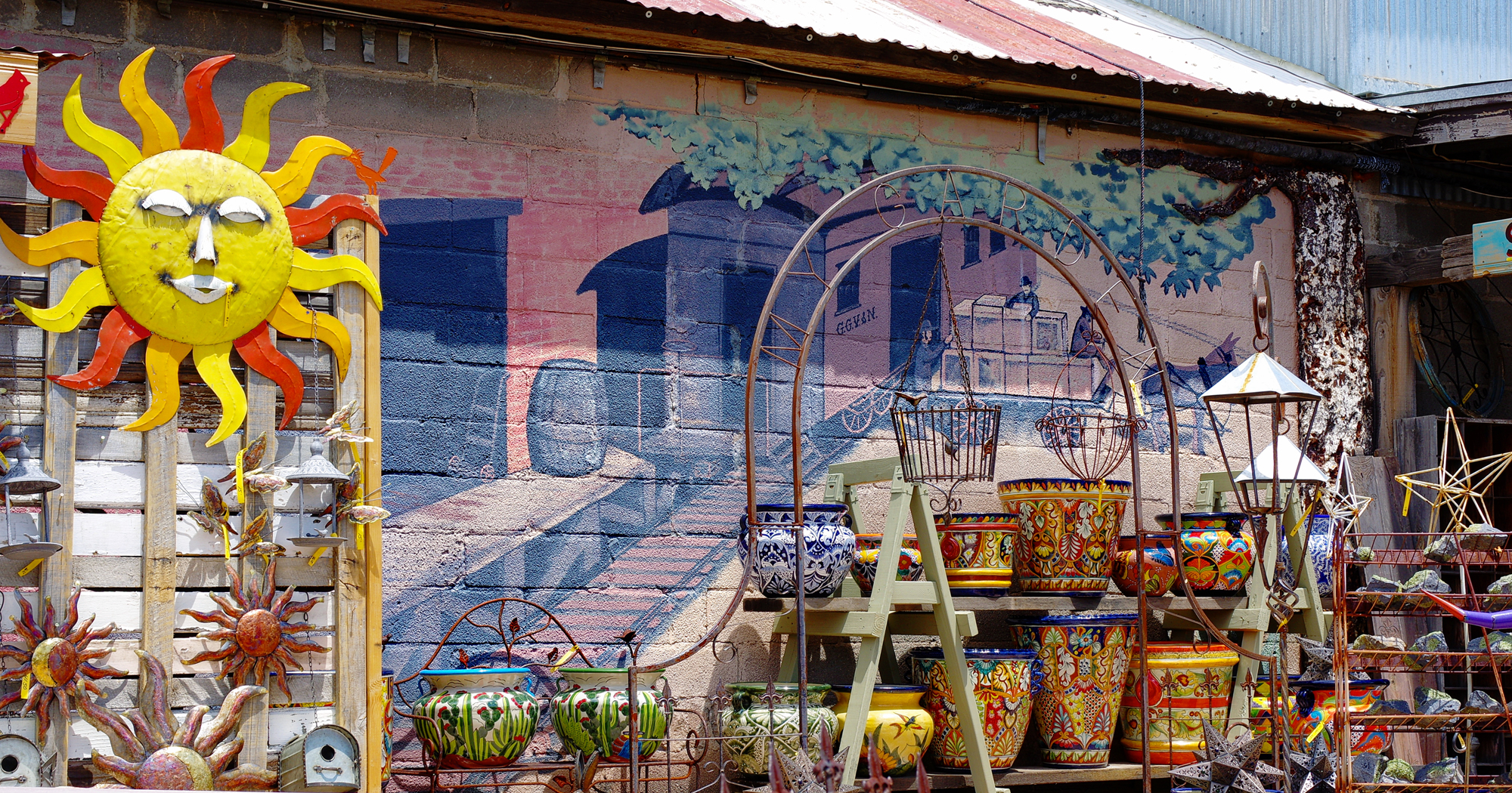 Rustic Yard Art on Exterior of Pickle Barrel Trading Post