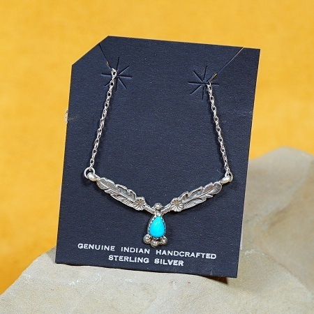 Feather Pendant Necklace Sleeping Beauty Turquoise