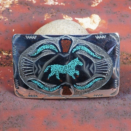 Horse Belt Buckle Sleeping Beauty Turquoise