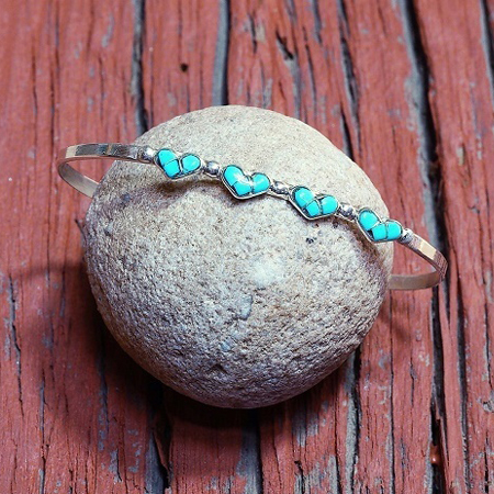 Sleeping Beauty Turquoise Heart Cuff Bracelet