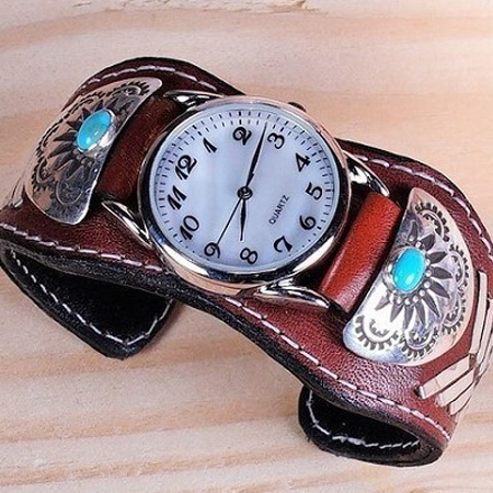 Sleeping Beauty Turquoise Leather Cuff Watch