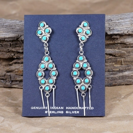 Sterling Silver Earrings Droplets with Sleeping Beauty Turquoise