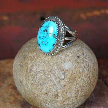 Sterling Silver Roped Edge Ring with Sleeping Beauty Turquoise