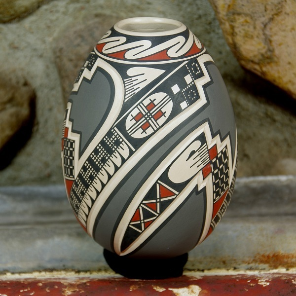 Mata Ortiz Pottery Vase - Grey Red and Black