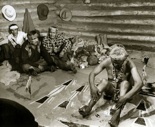 Old black and white photograph of a traditional Navajo healing ceremony