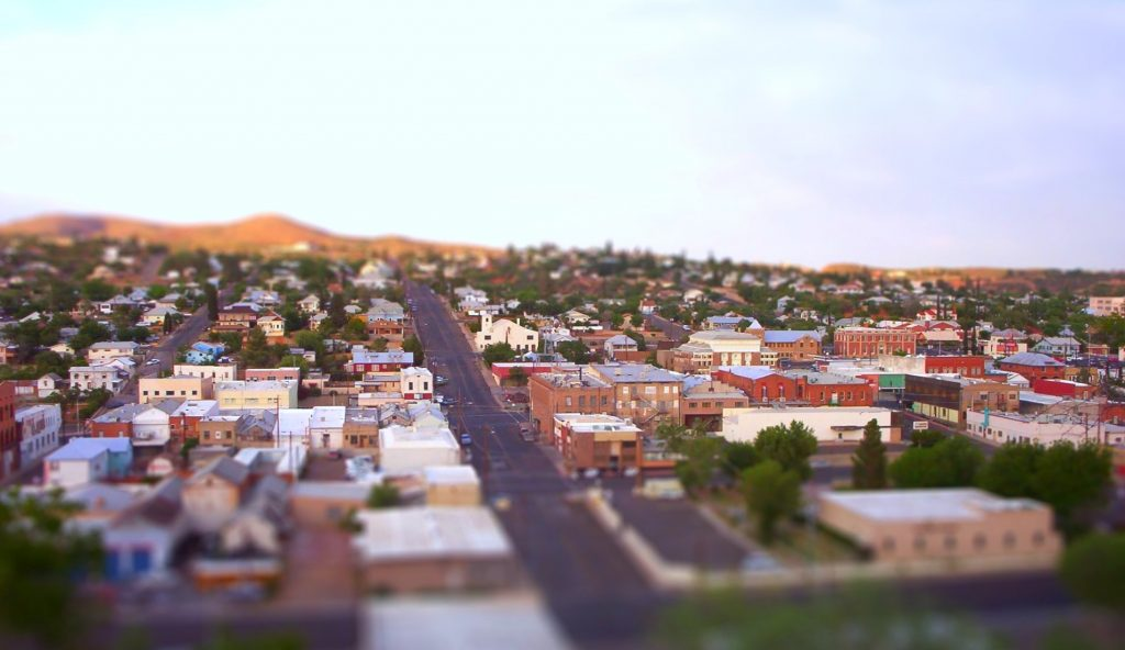 A birds eye view image of globe arizona and it's historic center downtown