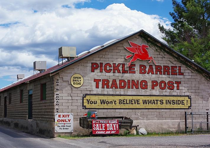 The popular Pickle Barrel Trading Post in historic downtown Globe, Arizona; a prime Arizona day trip destination.