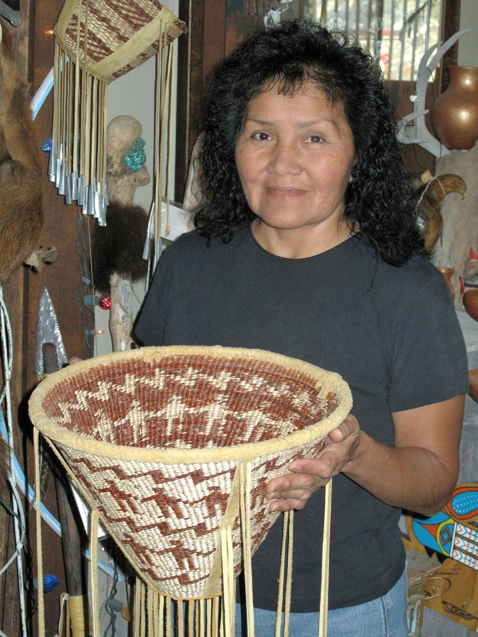 Mary Jane Dudley with burden basket
