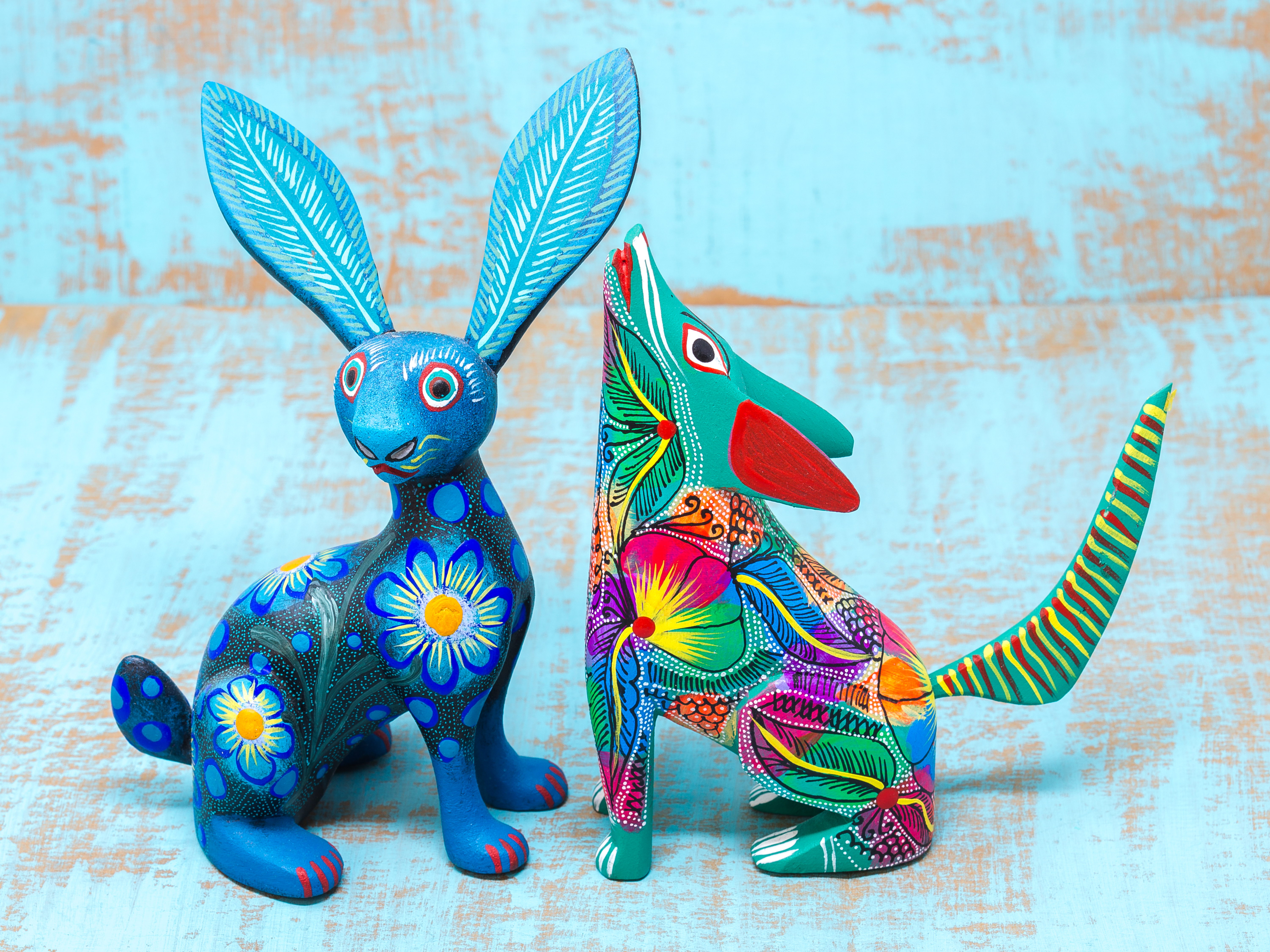 Oaxacan wood carved animals.