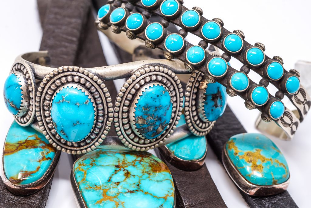 Turquoise is found with matrix (veining), created by copper, iron, and other materials.