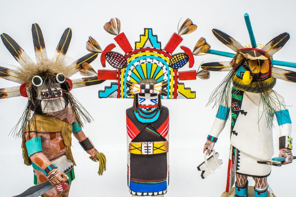 Hopi kachinas, or katsinas, created by Native american carvers
