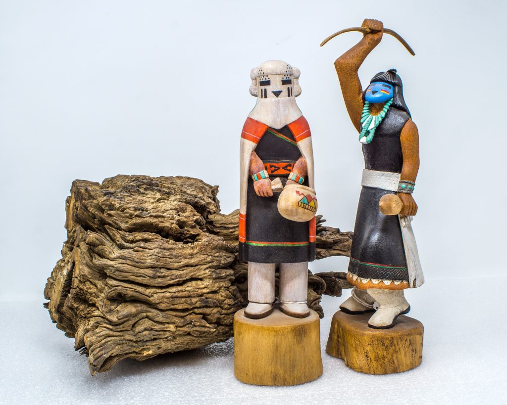 Snow Maiden and Turquoise Lady, two examples of finely carved Hopi kachinas