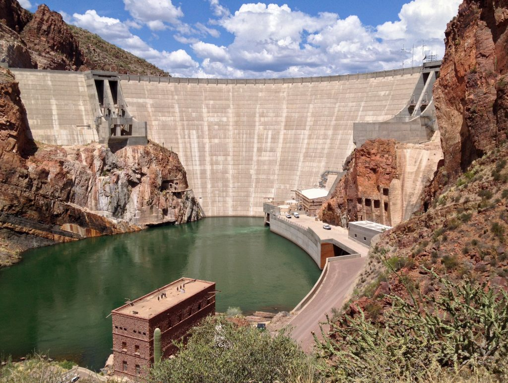 Roosevelt Dam, a part of Roosevelt Lake in the Tonto National Monument