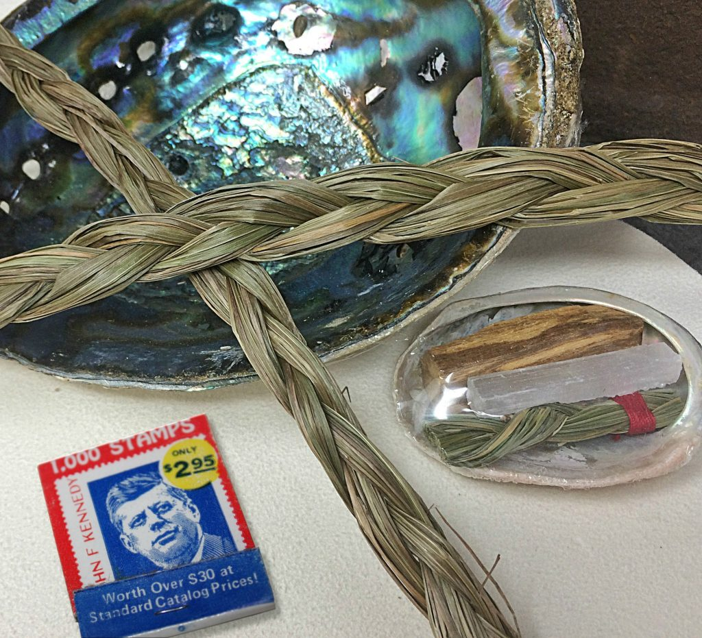 Braided sweetgrass can be used in a smudging ceremony, with nicely scented results.