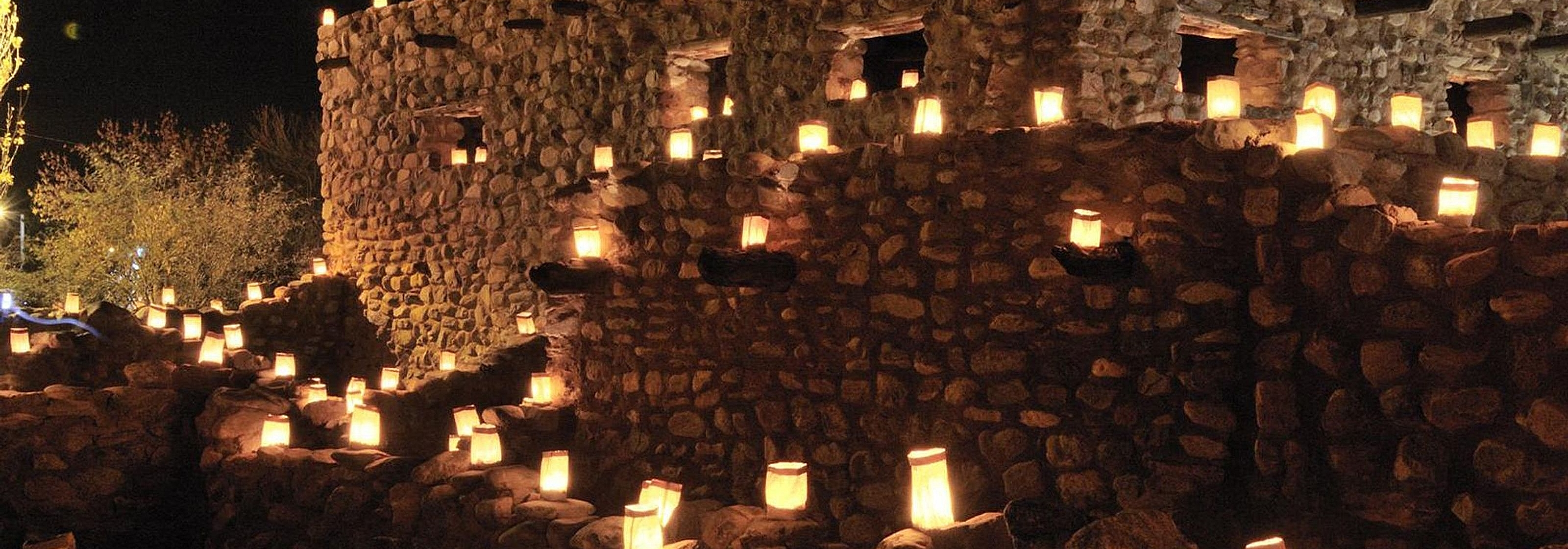 Luminarias at Besh ba Gowah Salado ruins in Globe, Arizona