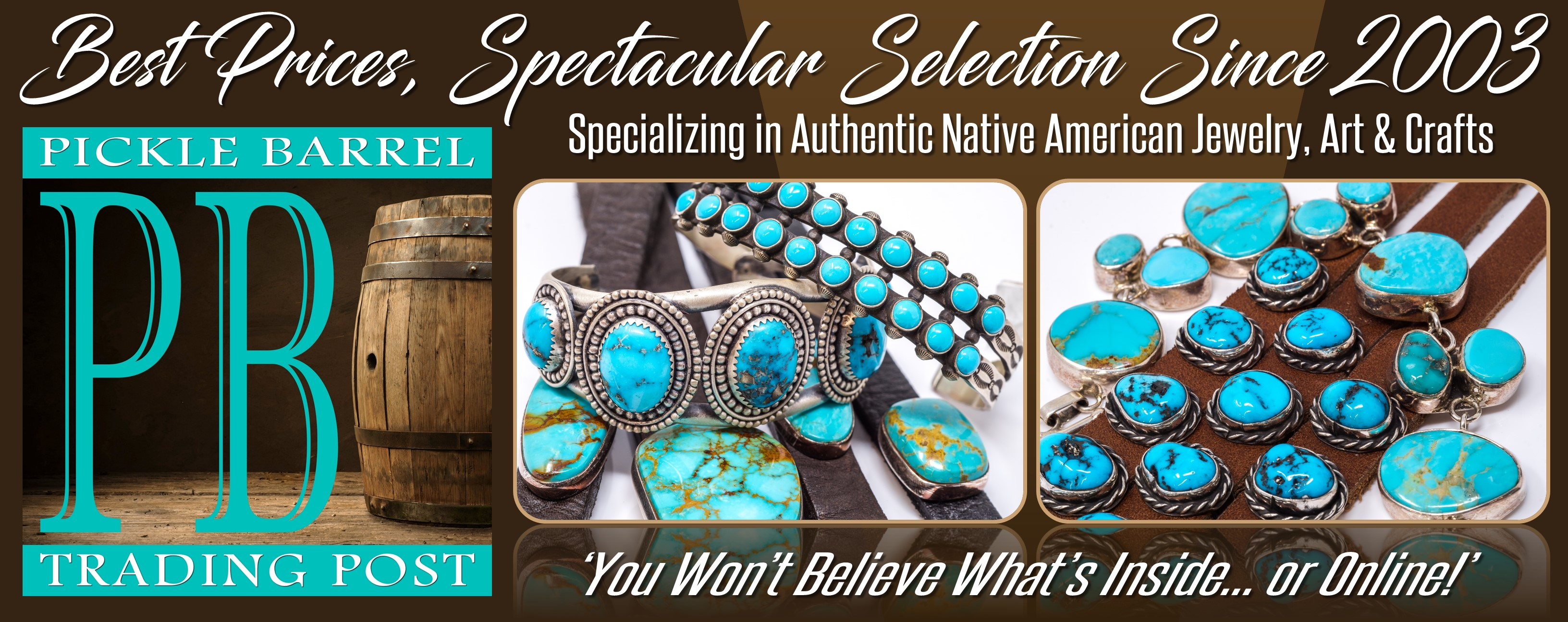 Native American-made turquoise and sterling silver jewelry at the Pickle Barrel Trading Post in Globe, Arizona.