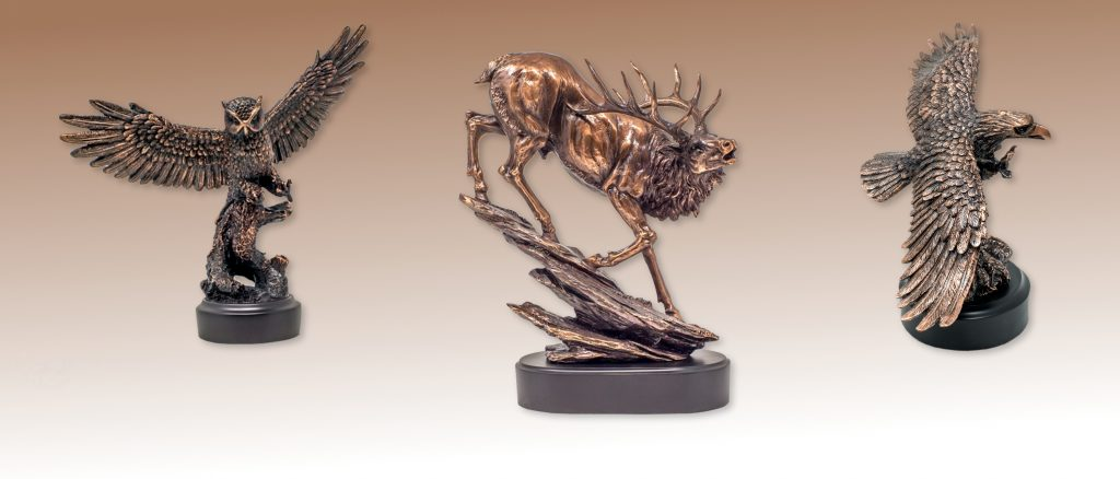 Copper plated animal figures are compelling in any decor.