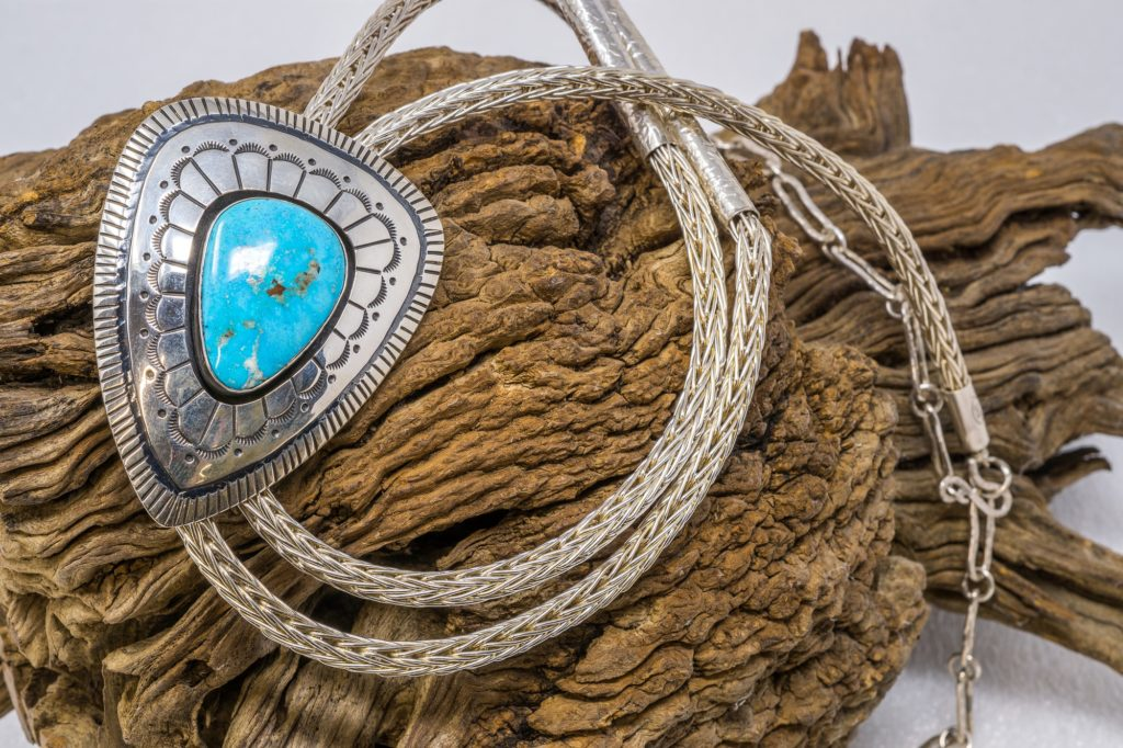 Sterling silver bolo tie with Morenci turquoise by E.M. Teller
