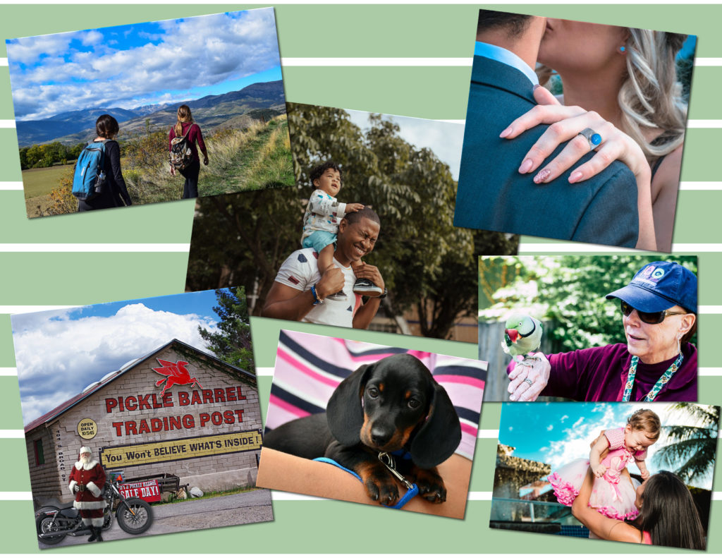Images of smiling families with their pets visit the Pickle Barrel Trading Post in Globe, Arizona