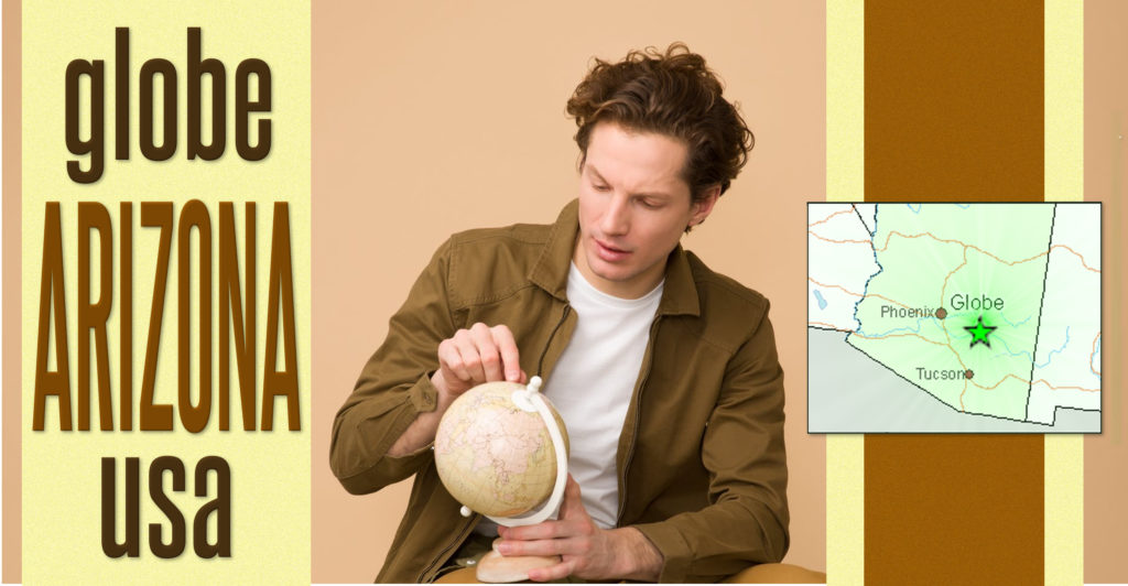 Man looking at map to find Globe, Arizona, USA