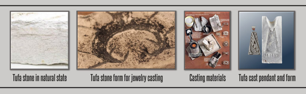 Different forms and stages when creating tufa stone cast jewelry